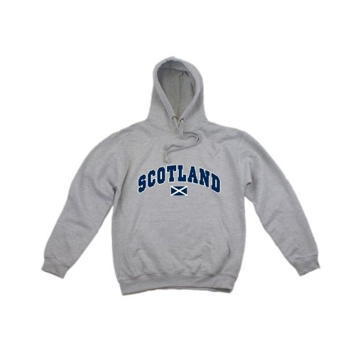 Mens Scotland Print Hooded Sweatshirt Jumper/Hoodie (S - 34inch - 36inch) (Light Grey)