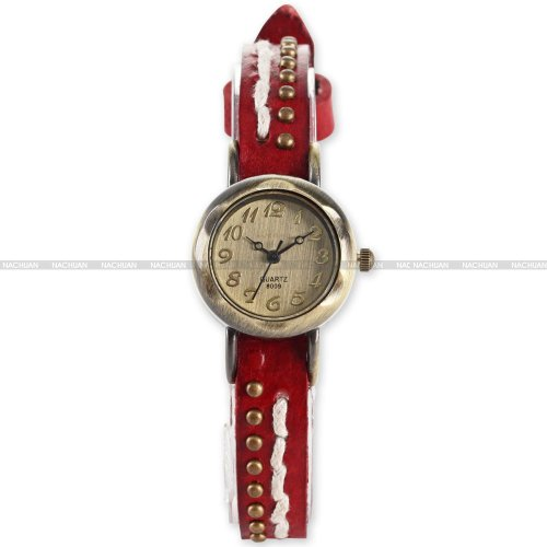 AMPM24 Retro Bronze Women Lady Slim Bracelet Red Leather Analog Quartz Wrist Watch