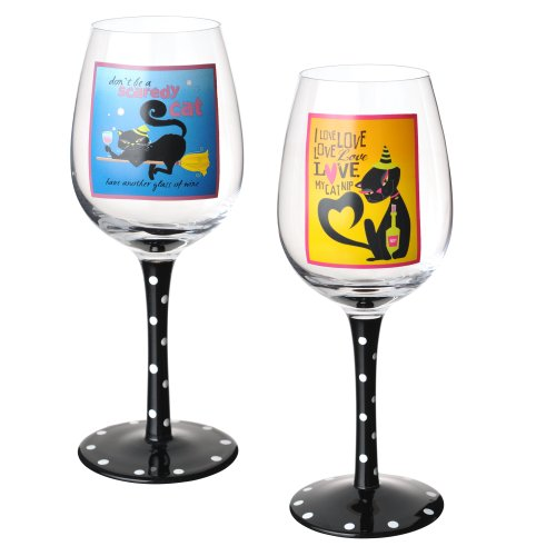 Grasslands Road Pretty Black Cat Wine Glasses, Two Styles, Set of 4