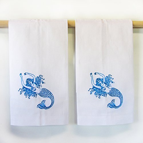 Elegant Embroidered Mermaid Hand Towels -- Set of 2