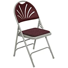 National Public Seating 1000 Series Steel Frame Premium Fabric Upholstered Seat Fan Back Folding Chair with Triple Brace, 480 lbs Capacity, Burgundy/Gray (Carton of 4)