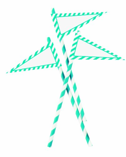 Party Partners Design 12 Count Retro Paper Straws with Banners, Aqua