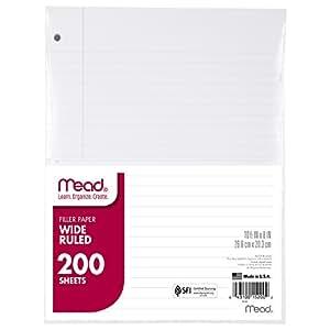 Mead Filler Paper, Loose Leaf Paper, Wide Ruled, 200 Sheets/Pack (15200)