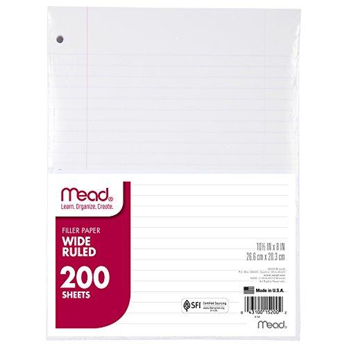 Mead Filler Paper, Loose Leaf Paper, Wide Ruled, 200 Sheets/Pack