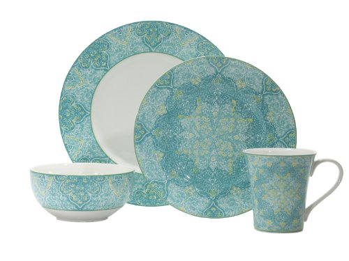 222 Fifth Eva Teal 16-Piece Dinnerware Set