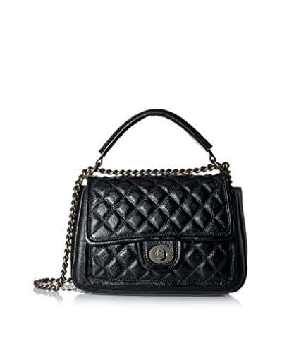 Zenith Women's Quilted Flap with Turn Lock, Black