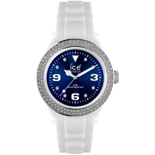 Ice-Watch Ladies Quartz Watch with Blue Dial Analogue Display and White Silicone Strap IB.ST.WBE.U.S