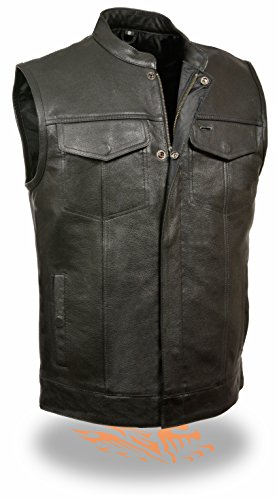 SOA Men's Basic Leather Motorcycle Vest w/ 2 Inside Gun Pockets Collared & No Collar versions (X-Large,