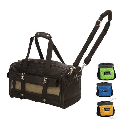 Sherpa Ultimate Medium on Wheels Airline Approved Pet Dog Cat Carrier & BONUS Portable Travel Bowl Included Pet up to 16lbs