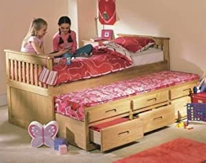 Cloudseller Captain's BED WITH Under Bed (wax) with storage