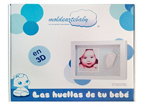 Made in Spain Fondo Azul con Motitas Marco con Material Huellas del Bebe en 3D Pie o Mano