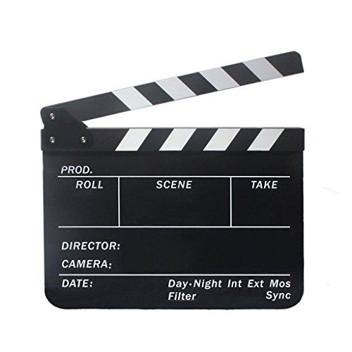 【ノーブランド 品】クラッパーボードスレート カチンコ テレビ フィルム 映画 下見板 張り黒板 黒と白ストライプ付き