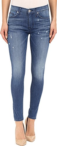 Hudson Women's Nico Mid-Rise Ankle Skinny with Distress in Wipeout Wipeout Jeans 24 X 28