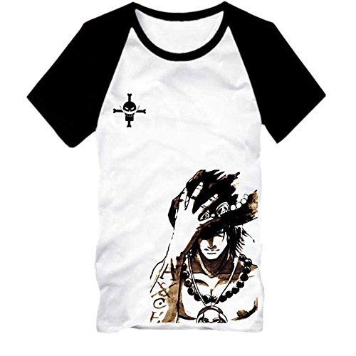 Meilaier One Piece Cosplay Ace Costume T-shirt Men's Boy's Anime Tees