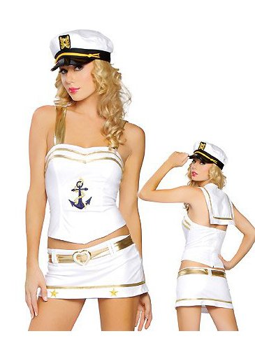 Love Boat Captain - Women's Sexy Sailor Captain Halloween Costumes Uniforms