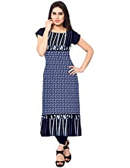 ZIYAA Blue Color Cap Sleeve And Boat Neck Faux Crepe Kurti
