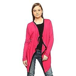 Vvoguish Viscose Pink Stylish Long Shrug-VVSHG906PNKBLK-M