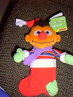 "Sesame Street 8"" Plush Ernie Doll in Christmas Stocking - 1"