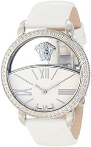 Versace Women's 93Q99D02C S001 Krios White Enamel and Transparent Dial Patent Leather Watch
