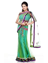 Chhabra555 Green Net One Minute Saree - B00J4RP708