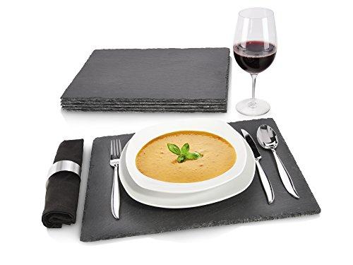 Snger-Schiefer-Platten-Set-6-teilig-40x30cm-Tisch-Untersetzer-Servierplatten-4-Gummife-zum-Schutz-Ihrer-Oberflchen-Robustes-Design-mit-edler-Optik