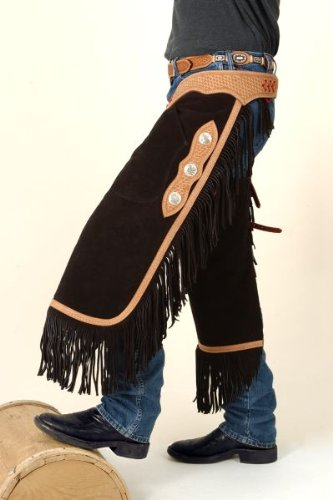 Tough-1 Suede Leather Silver Concho Chinks Medium
