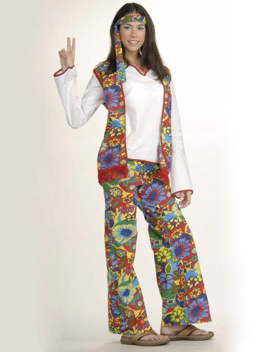 Womens Classic Hippie Costume Couples Theatre 60s 70s Flower Power Love Child