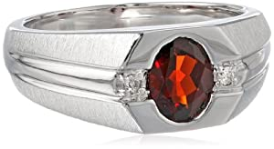 Men's Sterling Silver Garnet and Diamond Gents Ring (0.04cttw, J-K Color, I3 Clarity), Size 10.5 by Amazon Curated Collection