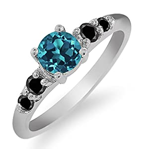 0.73 Ct Round London Blue Topaz Black Diamond 925 Sterling Silver Ring