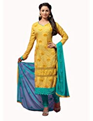 Kmozi Latest New Yellow Designer Embroidery Work Dress Material