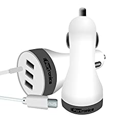 Portronice Premium 3 Port USB Car Charger With Cable For Motorola Moto G (Gen 3)