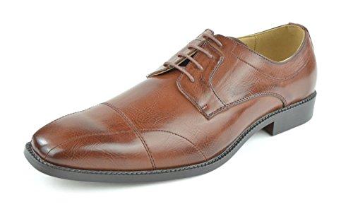 Moda Di Raza - Men's Modern Sleek Oxford Lace Shoes - Cognac - 6569/ Size: 10