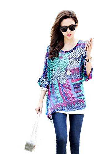 LATH.PIN Donna Bohemian 3/4 Sleeve Chiffon Blouse Off Shoulder T-shirt