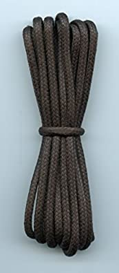 Waxed cotton bootlaces Brown 3mm diameter (120cm length)