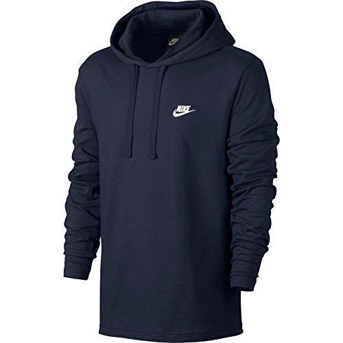 Nike Mens Sportswear Pull Over Hooded Long Sleeve Shirt Obsidian Blue/White 807249-451 Size Medium