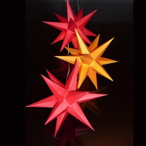 3 leuchtterne aus papier 2x rot 1x gelb 3d weihnachtssterne f rs fenster sternschmiede art. Black Bedroom Furniture Sets. Home Design Ideas