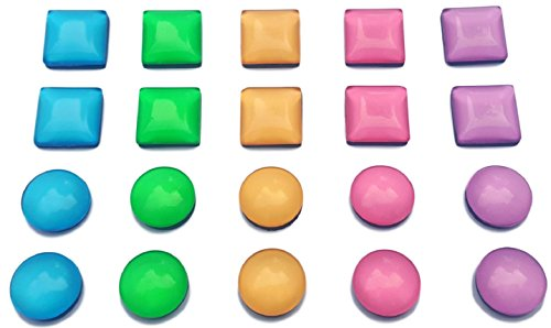 SD Magnet - Set of 20 Colorful Fridge Magnets || Square & Circle Shapes || Colored Glass Magnets for use on Whiteboard, Office, Refrigerator, Magnetic Collage Picture Frames || For Adults & Children! (Colored Fridge compare prices)