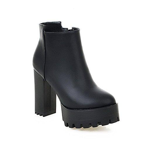 AalarDom Donna Punta Tonda Bassa Altezza Tacco Alto Puro Stivali con Metallo, Nero, (I Migliori Donne Di Inverno Boots)