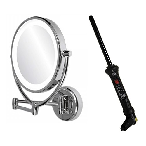 Ovente Dual Side Lighted Wall Mirror With Curling Iron (13Mm, Black)
