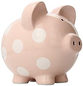 Child to Cherish Polka Dot Piggy Bank, Pink, Large