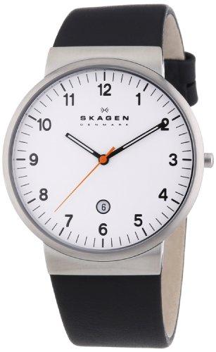 Skagen - SKW6024 - Montre Homme - Quartz Analogique - Bracelet Cuir Noir