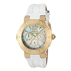 Invicta Angel 14742 40mm Gold Plated Stainless Steel Case White Calfskin flame fusion Women's Watch