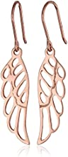 Rose Gold Plated Sterling Silver Angel Wing Drop Earrings