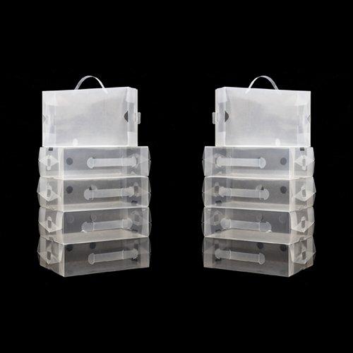 10 x Clear Stackable Foldable Plastic Shoe Storage Boxes by KurtzyTM
