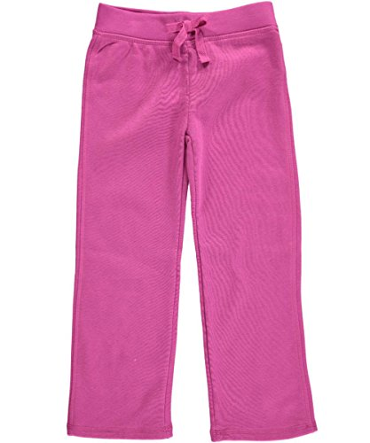 French Toast Little Girls' Fleece Pant Regular Length, Rose Violet, 5