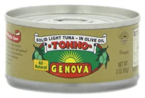 Genova Tonno, Solid Light Tuna In Olive Oil, 3 Ounce Tins (Pack of 24)
