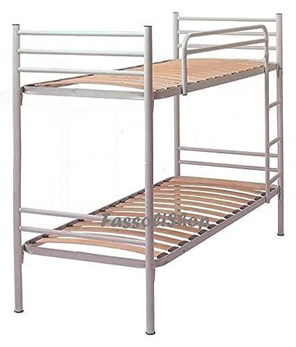 Litera metálica blanca cm 80x190 (total 80x203x150) con escalera para acceso a la cama superior