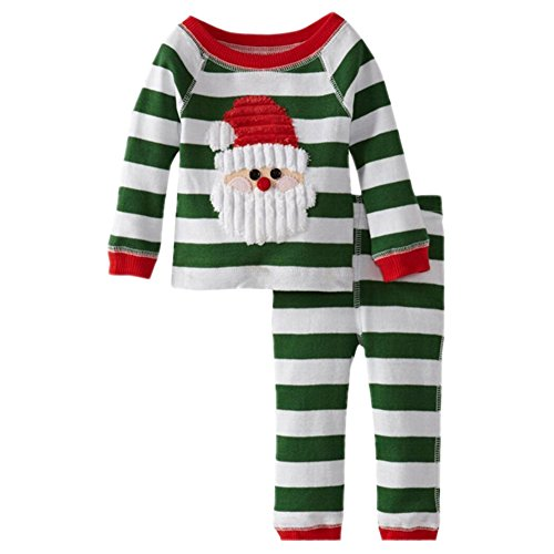 PrettyKids 2 Pieces Baby Girls Christmas Santa Claus Costume Green Stripe Suit