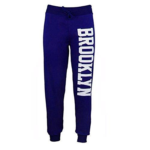 Janisramone Da Donna Nuovo lato Brooklyn Stampa Pantaloni Pantaloni Tuta Da Donna Jogging Pantaloni BROOKLYN JOGGERS ROYAL BLUE S/M
