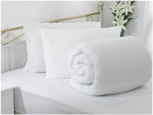 AMAZING VALUE BUNDLE - 10.5 TOG DUVET/ QUILT WITH 2 ULTRA BOUNCE PILLOWS NON ALLERGENIC SOFT TOUCH POLY COTTON - DOUBLE